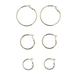 3 Pair Hoop Earrings - Gold